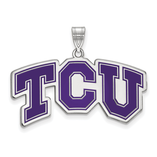 Sterling Silver Large TCU Arched Enamel Pendant