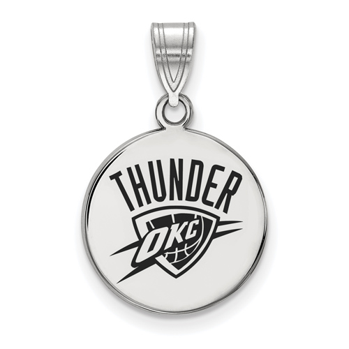 Sterling Silver 5/8in Round Oklahoma City Thunder Enamel Pendant