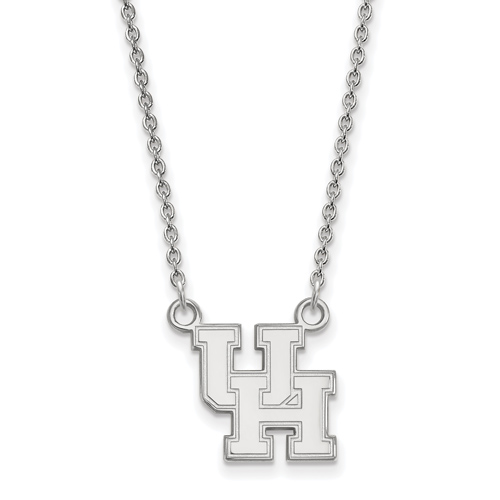 Sterling Silver 1/2in University of Houston UH Pendant with 18in Chain