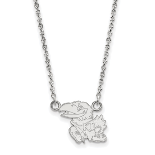14k White Gold 1/2in University of Kansas Left Pendant with 18in Chain