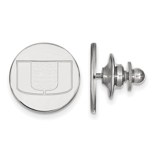 Sterling Silver University of Miami U Logo Lapel Pin