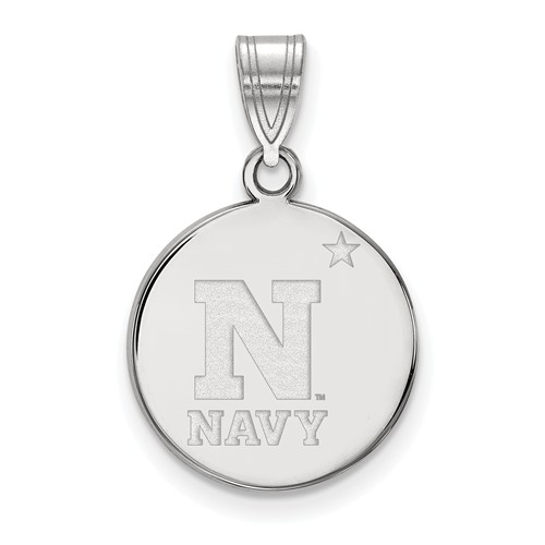 United States Naval Academy Disc Pendant 5/8in Sterling Silver