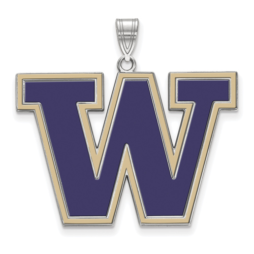 Sterling Silver 1in University of Washington W Enamel Pendant