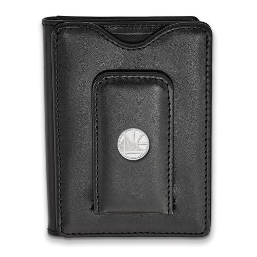Sterling Silver Golden State Warriors Black Leather Wallet