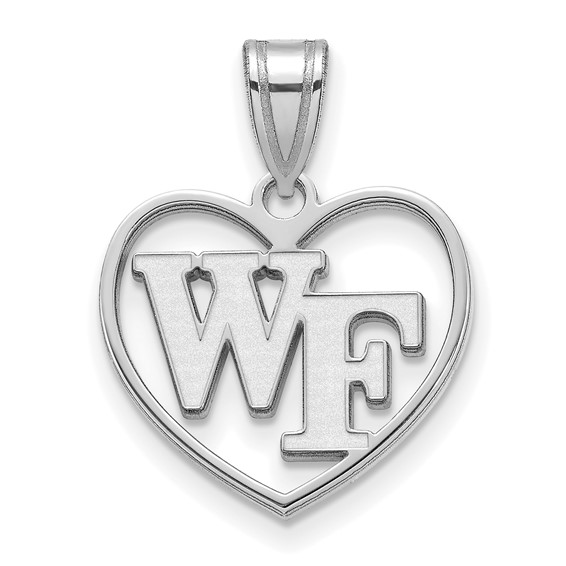 Wake Forest University WF Heart Pendant 5/8in Sterling Silver