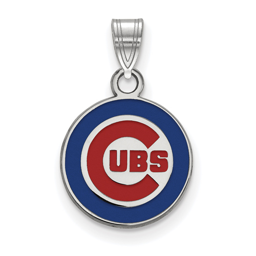 Sterling Silver 1/2in Chicago Cubs Round Enamel Pendant