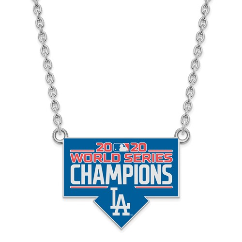 Sterling Silver Los Angeles Dodgers World Series 2020 Enamel Necklace