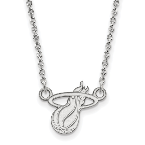 Sterling Silver 3/8in Miami Heat Pendant on 18in Chain