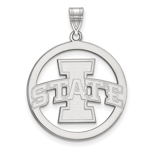 Iowa State University Circle Pendant 1in Sterling Silver