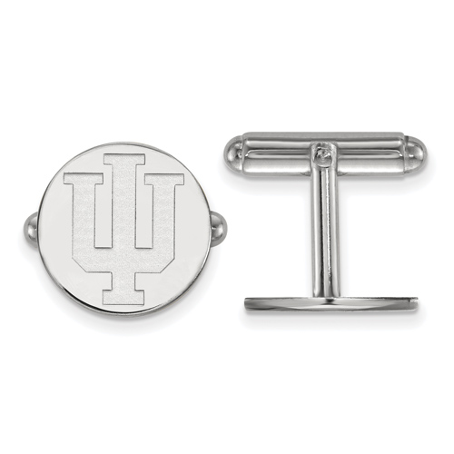 Sterling Silver Indiana University Round Cuff Links