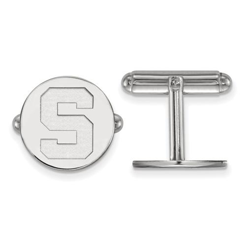 Sterling Silver Michigan State University Round Cuff Links