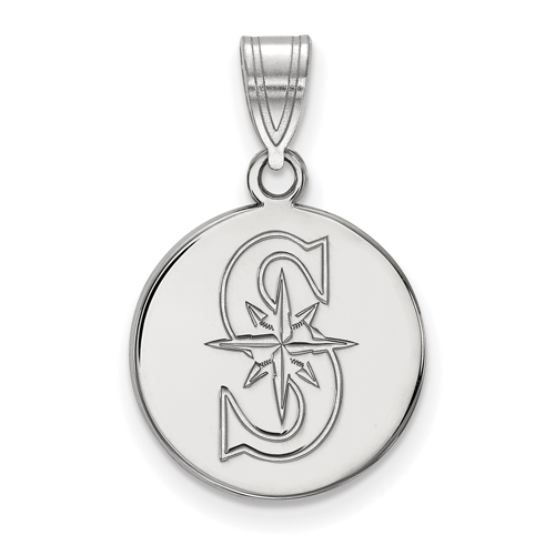 Sterling Silver 5/8in Round Seattle Mariners S Pendant