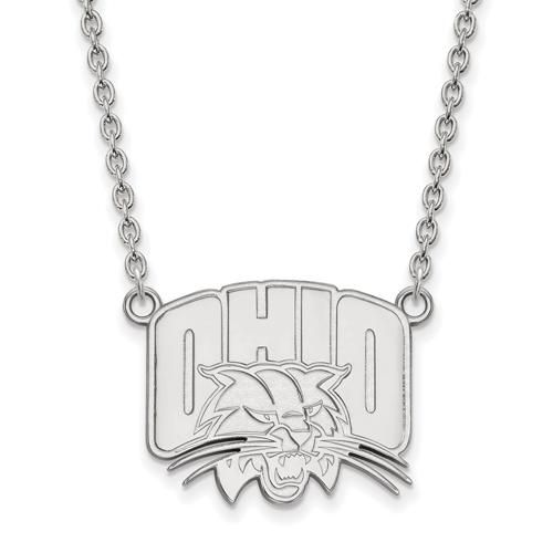 Ohio University Logo Necklace 3/4in 14k White Gold