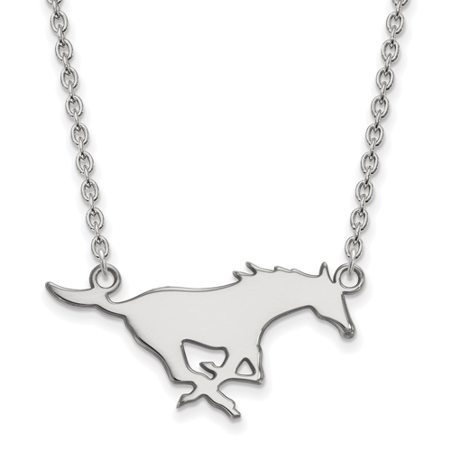 Southern Methodist University Mustang Necklace 14k White Gold