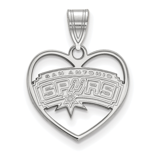 Sterling Silver 5/8in San Antonio Spurs Heart Pendant