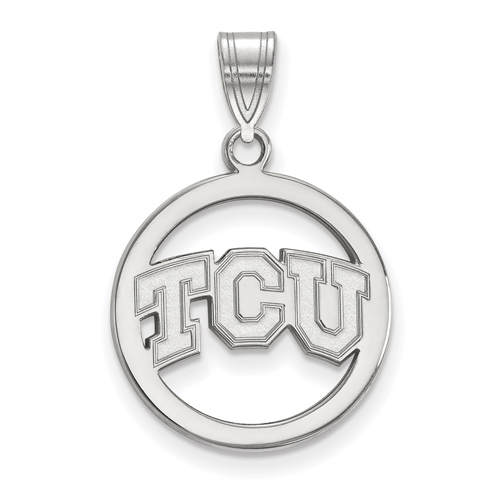 Sterling Silver 5/8in Texas Christian University Pendant in Circle