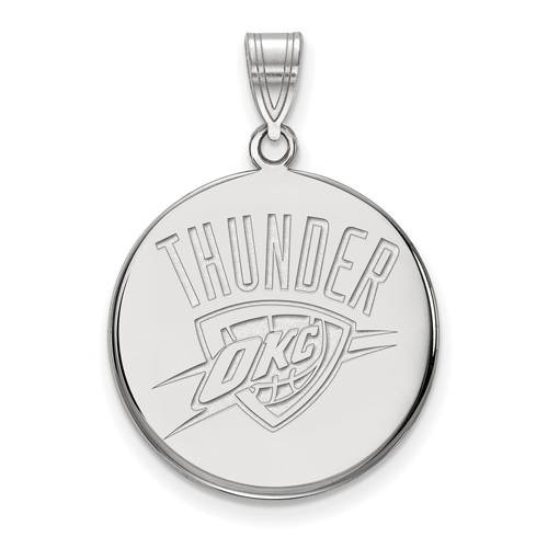 Sterling Silver 3/4in Round Oklahoma City Thunder Pendant