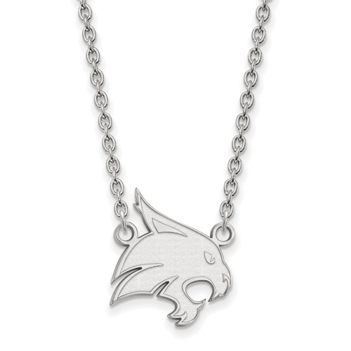 Texas State University Logo Necklace 3/4in Sterling Silver