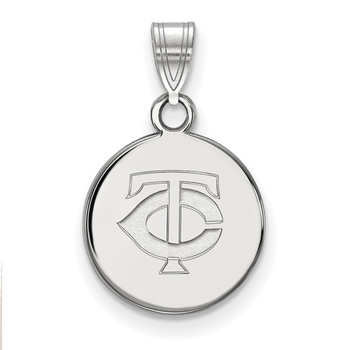 Sterling Silver 3/8in Minnesota Twins Round Pendant