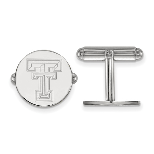 Sterling Silver Texas Tech University Round Cuff Links
