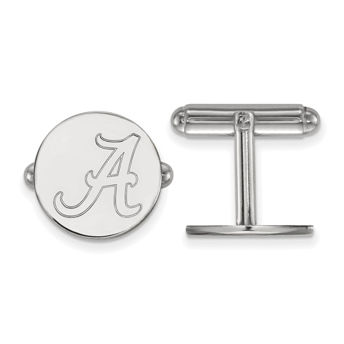 Sterling Silver University of Alabama Round A Cuff Links