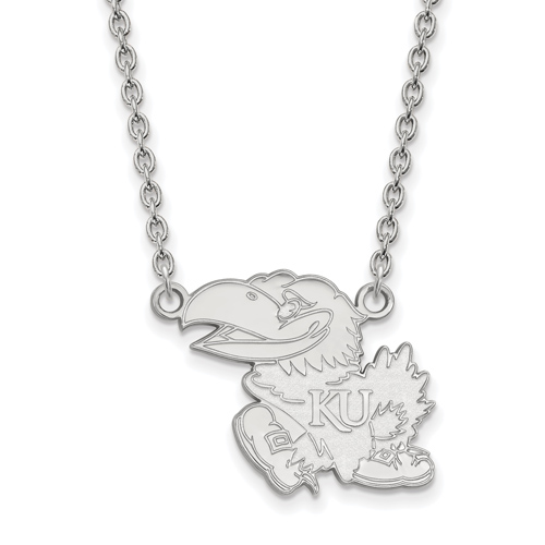 University of Kansas Left-Facing Jayhawk Necklace 3/4in 14k White Gold