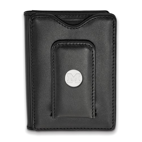 Sterling Silver University of Michigan Black Leather Wallet