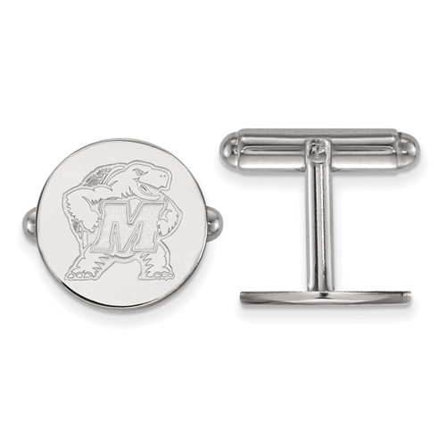 University of Maryland Round Cuff Links Sterling Silver