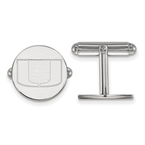 Sterling Silver University of Miami Round Cuff Links