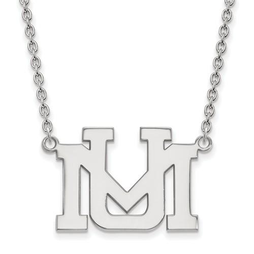 University of Montana UM Necklace 3/4in 10k White Gold