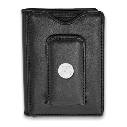 Silver University of North Carolina Tar Heel Black Leather Wallet