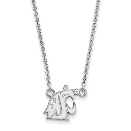 Silver 1/2in Washington State University Pendant with 18in Chain