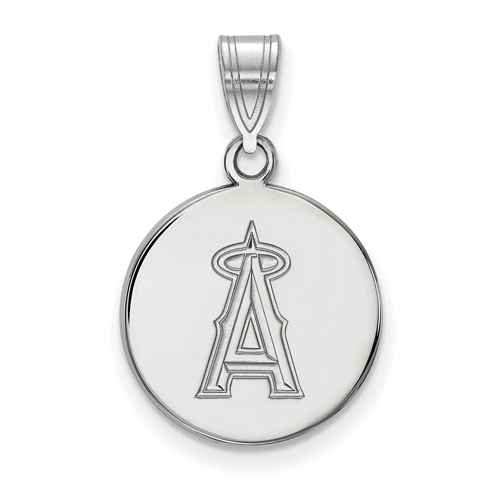 Sterling Silver 5/8in Round Los Angeles Angels Pendant