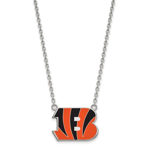 Cincinnati Bengals Enamel Pendant with Necklace Sterling Silver
