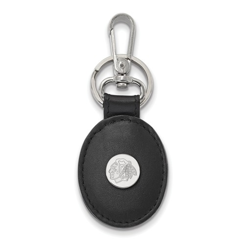 Sterling Silver Chicago Blackhawks Black Leather Oval Key Chain