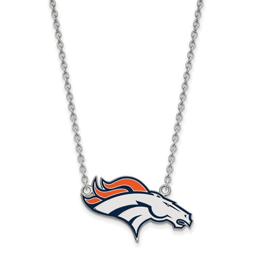 Denver Broncos Enamel Pendant with Necklace 3/8in Sterling Silver