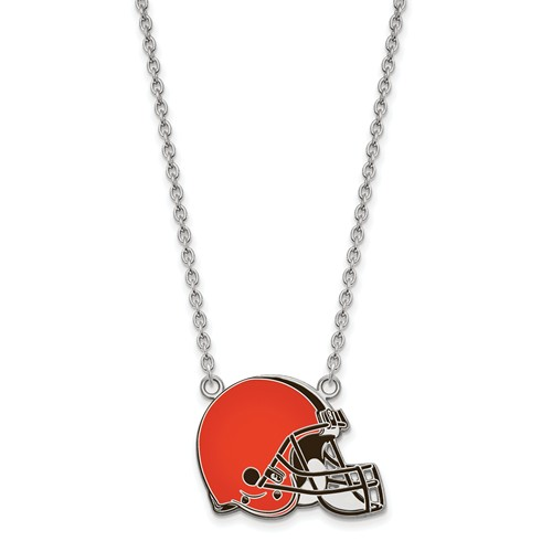 Cleveland Browns Enamel Pendant with Necklace 1/2in Sterling Silver