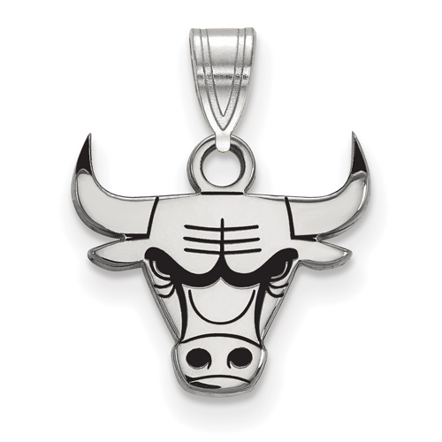 Sterling Silver 3/8in Chicago Bulls Enamel Pendant