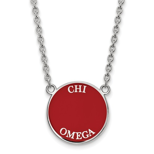 Sterling Silver Red Enamel Chi Omega Necklace