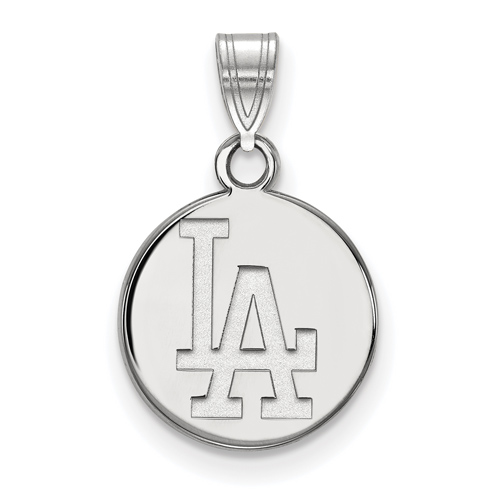 Sterling Silver 3/8in Los Angeles Dodgers Round Pendant