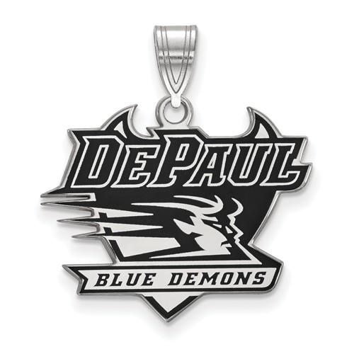 DePaul University Enamel Pendant 3/4in Sterling Silver