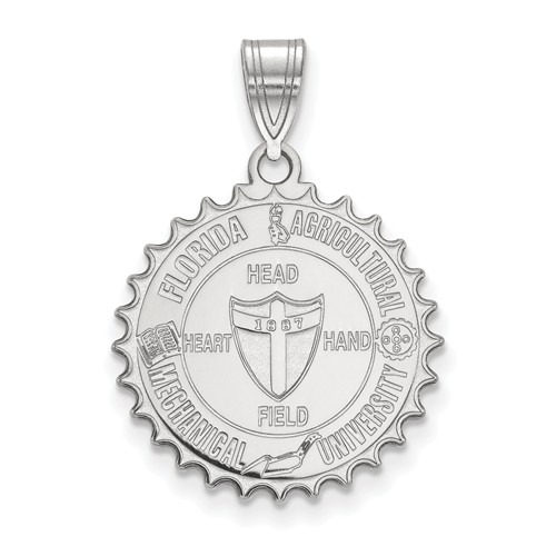 Sterling Silver Florida A&M University Crest Pendant 3/4in