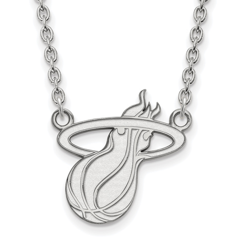 Sterling Silver Miami Heat Pendant on 18in Chain