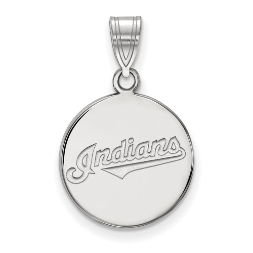 Sterling Silver 5/8in Round Cleveland Indians Pendant
