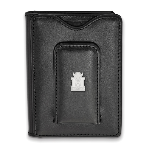 Sterling Silver Marshall University Black Leather Wallet