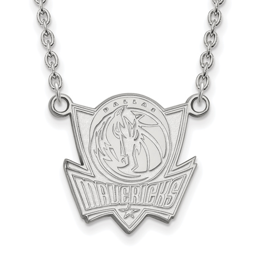 14k White Gold Dallas Mavericks Pendant on 18in Chain