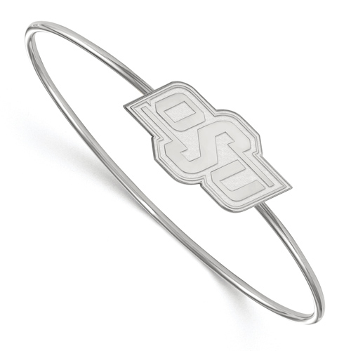 Sterling Silver 6in Oklahoma State University Slip on Wire Bangle