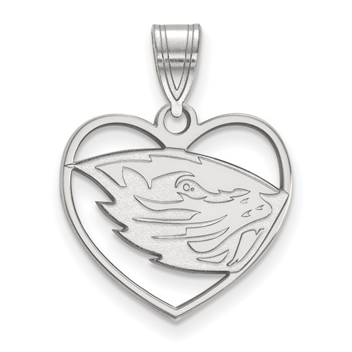 Sterling Silver 5/8in Oregon State University Pendant in Heart