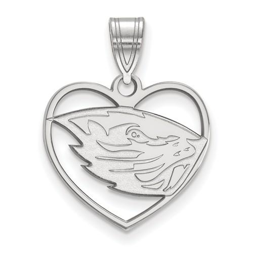 Sterling Silver 5/8in Oregon State University Pendant in Heart