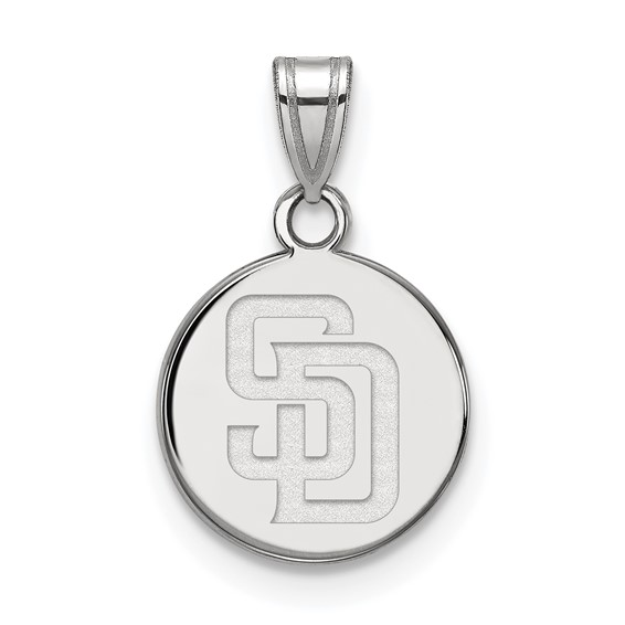 Sterling Silver 1/2in San Diego Padres Round Pendant